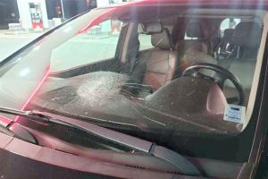 Vehicle damaged by rocks thrown from overpass in Lantz.
